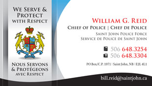 Saint John Police Force Business Card
